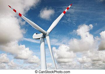 energia, -, turbina, vento