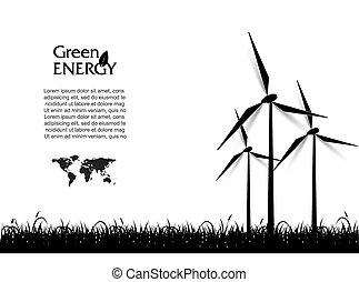 energia, turbinas, abstratos, vetorial, verde, concept., vento