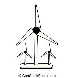 energia, turbinas, pretas, verde branco, vento
