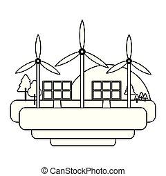 energia, turbinas, verde, pretas, branca, vento