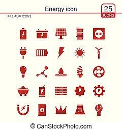 energia, vektor, állhatatos, ikon
