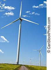 energia vento, turbina, paesaggio