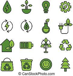energia, verde, ícones