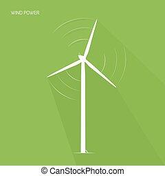 energia, verde, logotipo, turbina, torre, vento, ícone