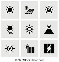 energia, vetorial, jogo, solar, ícone