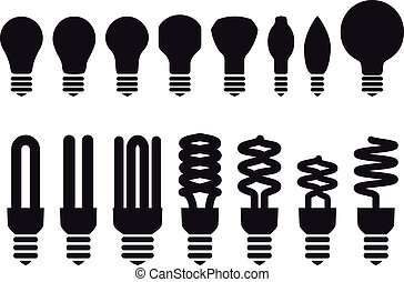 energia, vetorial, poupar, bulbos