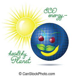 energia, vetorial, solar, ilustração