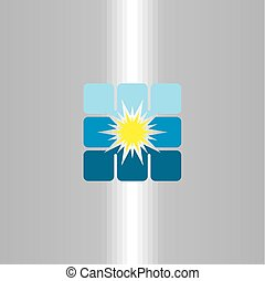 energia, vetorial, solar, logotipo, painel, ícone
