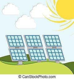 energia, vetorial, solar