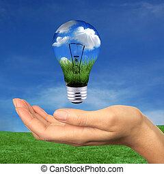 energia, wewnątrz, osiągać, odnawialny