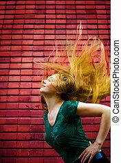 energic, cheveux, femme, en mouvement