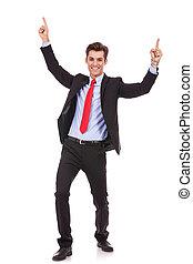 energiczny, handlowy, powodzenie, młody, cieszący się, człowiek