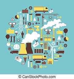 energie, a, elektřina, průmyslový navrhovat, pojem