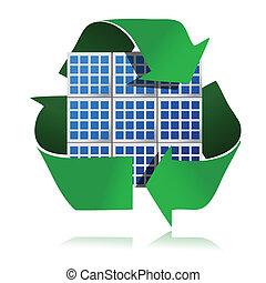 energie, ausschüsse, erneuerbar, sonnenkollektoren