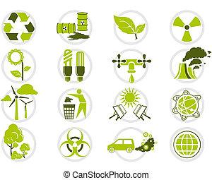 energie, besparing, en, milieubescherming, pictogram, set