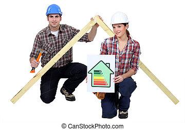 energie, besparing, in, bouwsector