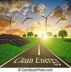 energie, concept., schoonmaken