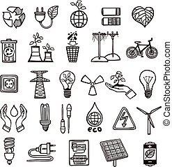 energie, ecologie, set, pictogram