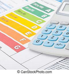 energie, efektivnost, graf, a, kalkulačka, -, ateliér...