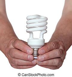 energie, einsparung, glühlampe, in, hand