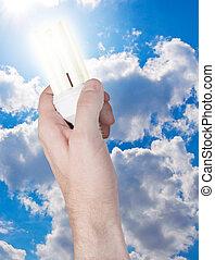 energie, einsparung, zwiebel, in, hand