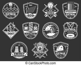 energie, elektrische mogendheid, dienst, iconen