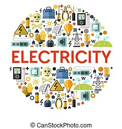 energie, elektromonteur, generatie, elektriciteit, spandoek...