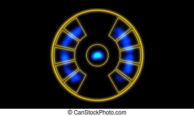 energie, emissie, instrument, met, pulsing, paarse , golven,...