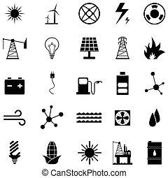 energie, ikone, satz