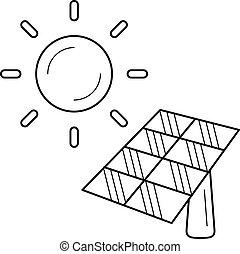 energie industrie, vector, zonne, icon., lijn