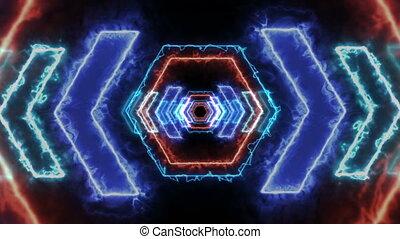 energie, licht, vj, tunnel., 3d, render
