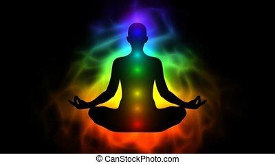 energie, menselijk, aura, chakras, lichaam