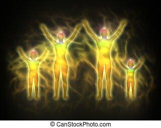 energie, -, mrtvola, rodina, aura