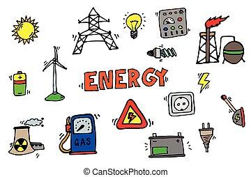 energie, satz, heiligenbilder