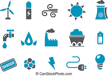 energie, set, pictogram