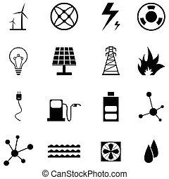 energie, set, pictogram