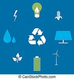 energie, set, schoonmaken, pictogram