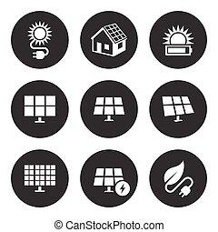 energie, set, zonne, iconen