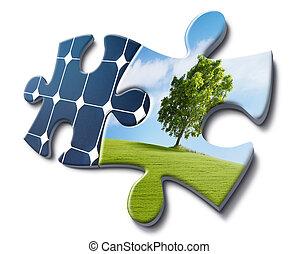 energie, sonnenkollektoren, lieben, natur
