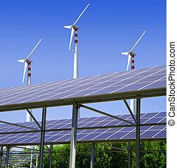 energie, sonnenkollektoren, wind