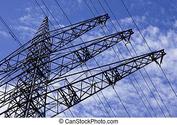 Energie - Strommast mit Himmel und Wolken