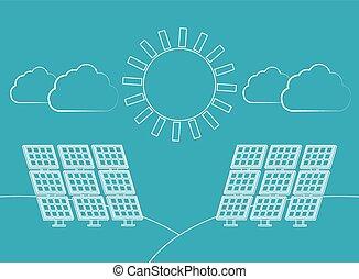 energie, vector, zonne
