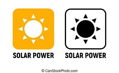 energie, vrijstaand, macht, zonnepaneel, icon., batterij, ontwerp, licht