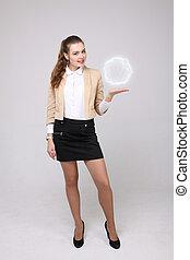 energie, vrouw, magisch, ball., gloeiend