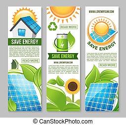 energie, woning, groene, zonne, sparen, spandoek, paneel