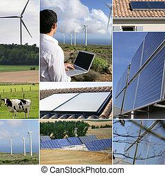 energier, collage, förnybart, themed