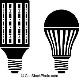 energiesparen, symbole, lampe, vektor, zwiebel, leuchtdiode