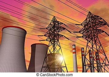 energieversorger, in, sonnenuntergang