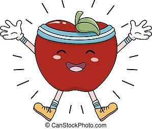 energizado, maçã, exercício, mascote