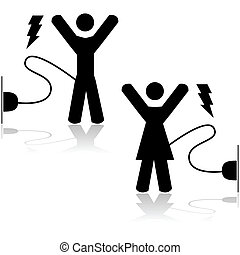 Energized - Concept illustration showing a man and a woman...